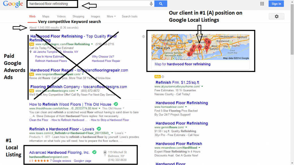 SEO advice tips - GOOGLE Local listing Pigeon update for-hardwood-floor-refinishing