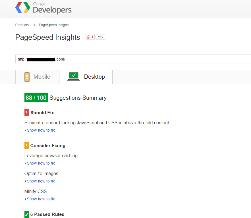 Google-pagespeed-insights-results